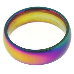 Rainbow Iridescent Stainless Steel Ring